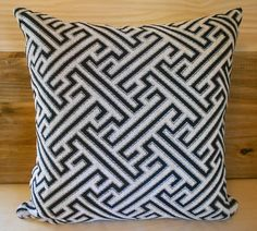 Black and white geometric decorative accent pillow cover. $32.00, via Etsy.