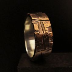 Mens unusual textured copper silver wedding band steampunk industrial unique Made To Order design 011  199  Ask a Question $199.0
