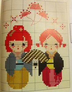 Kokeshi Kawaii Cross Stitch, Cross Stitch Kits, Cross Stitch Designs, Cross Stitch Patterns, Cross Stitching, Cross Stitch Embroidery, Blackwork, Hello Kitty Imagenes, Diy Broderie