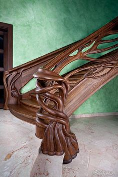 View woodworking projects, furniture plans, and more from the magazine's history and experts. Arts-and-Crafts Cottage Bookcase. Wood Staircase, Wooden Stairs, Stair Railing, Staircase Design, Banisters, Railings, Wood Carving Art, Wood Art, Amazing Architecture