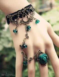 Not for me but sure is beautiful Bracelets #Jewelry #Accessories #Cute ,Blue Rose Vines Women's Rings Bracelets.