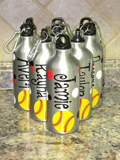Personalized Aluminum Water Bottle-Baseball/Softball. $10.00, via Etsy.