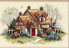 This Pin was discovered by zey Cross Stitch House, Cross Stitch Tree, Cross Stitch Cards, Cross Stitching, Cross Stitch Embroidery, Wedding Cross Stitch Patterns, Funny Cross Stitch Patterns, Cross Stitch Designs, Cross Stitch Numbers