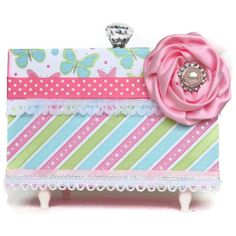Decoupaged Jewelry Box Pink Blue Green Stripes by BlissfulBoxes, $45.00