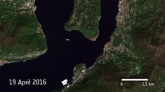 These four images showing the construction process of The Floating Piers were taken by ESA's Sentinel-2A satellite between April 19 and June…