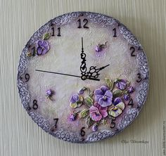 Ольга Украинская роспись + объём Clock Painting, Clock Art, Sculpture Painting, Diy Clock, Wall Sculptures, Painting On Wood, Hobbies And Crafts, Crafts To Make, Wallpaper Nature Flowers