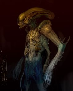 Giger was born and to honor his legacy, concept artist Carlos Huante has shared some of his own personal artwork he created as concepts for an. Predator Art, Alien Vs Predator, Giger Alien, Alien Alien, Saga Art, Mythological Monsters, Giger Art, Alien Isolation, Dark Creatures