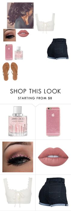 """Pointless summer things"" by faithanjel ❤ liked on Polyvore featuring Jimmy Choo, Lime Crime, Marysia Swim and Tkees"