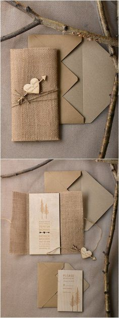 Rustic country burlap wedding invitations @4LOVEPolkaDots by leonor #countryweddinginvitations #BurlapWeddings