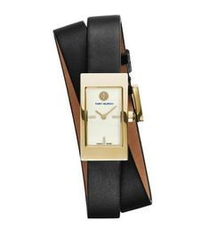 Tory Burch Pelle nera/Color oro, 31mm x 17mm. Want!!