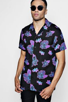 Floral Button Up, Black Shorts, Online Shopping Clothes, Latest Fashion Trends, Boohoo, Work Wear, Men Casual, Street Style, Contrast
