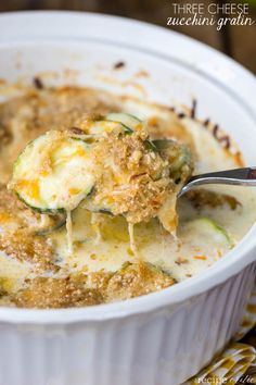 Three Cheese Zucchini Gratin at http://threcipecritic.com An amazing creamy and cheesy side that uses up all of your zucchini!