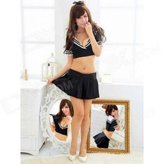Brand: N/A; Quantity: 1; Color: Black; Material: Polyster; Gender: Women; Suitable for: Adults; Style: Fashion; Character: Sailor; Size: Free Size; Shoulder Width: 40~52 cm; Chest Girth: 88~101 cm; Waist Girth: 72~97 cm; Hips Girth: 100~110 cm; Total Length: 30 cm; Suitable for Height: 162~174 cm; Features: The navy suits, handsome, sexy; Packing List: 1 x Costume; http://j.mp/1ljJCIH