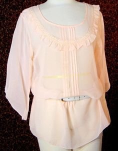 NWT PILANI'S LIVE IN STYLE peach rayon 3/4 sleeve tunic blouse M (T30-02E6G) #PILANIS #Blouse #Casual