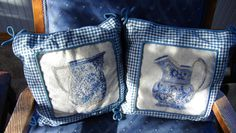 Pair of Blue And White Petit Point Gingham Pillows