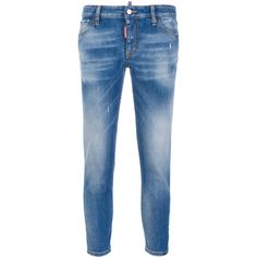Dsquared2 cropped Twiggy jeans (€475) ❤ liked on Polyvore featuring jeans, blue, dsquared2, zipper jeans, zip fly jeans, dsquared2 jeans and cropped jeans