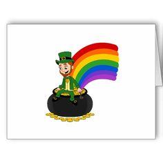 Cartoon leprechaun sitting on a pot of gold cards