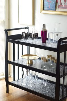 Changing table to bar cart. Love it.