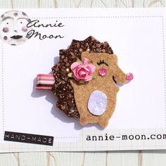 Sparkle Hedgehog Hair Clip by AnnieMoonPretties on Etsy