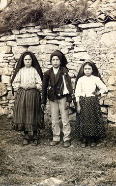The Children of Fatima:Jacinta, Francisco and Lucia Who Saw the Vision of Fatima, 1917, in Portugal
