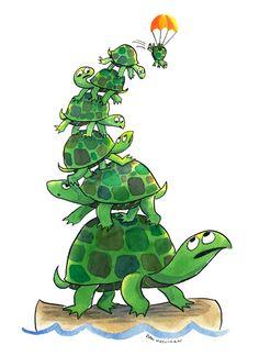 Teetering Turtle Tower Art Print by Dan Moynihan. Paint in color order for common assessment Baby Sea Turtles, Cute Turtles, Eastern Box Turtle, Funny Minion Memes, Tortoise Turtle, Turtle Love, Tortoises, Spirit Animal, Cute Art