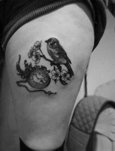 Image Detail for - Bird & Pocket Watch Tattoo «