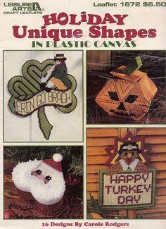 Holiday Unique Shapes, Leisure Arts Plastic Canvas Decor Pattern Booklet 1672
