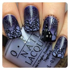 Halloween gradient using OPI You're Such A Budapest, OPI Miss You-niverse, and OPI Road House Blues topped off with China Glaze Fairy Dust. Stamped using BM-224 and BM-426 in Bundle Monster Noir Black and Iced Silver.