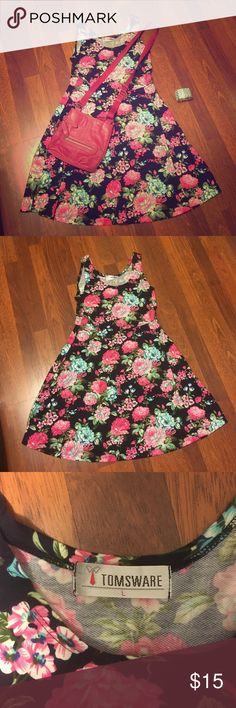 Preppy Romance Get ready for Spring!  Fresh floral dress in navy and pink, with hints of mint green.  Fit and flare style.  Form fitting tank top flows into an A-line skirt.  Tom's Ware size Large.  Polyester & Spandex blend. Tom's Ware Dresses Midi