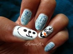 Tutorial on Frozen Nails!) by Aditee Mané. Disney Frozen Nails, Frozen Nail Art, Olaf Frozen, Cute Nails, Pretty Nails, My Nails, Olaf Nails, Nailart, Instagram Nails