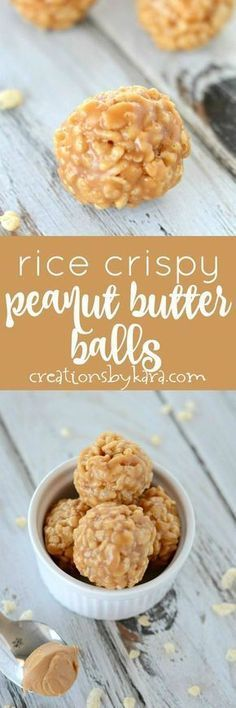 These simple peanut butter balls are easy to make but hard to. These simple peanut butter balls are easy to make but hard to resist! They are chewy crunchy and packed with peanut butter flavor. Easy Candy Recipes, Sweet Recipes, Cookie Recipes, Dessert Recipes, Fudge Recipes, Rice Recipes, Oven Recipes, Baking Recipes, Snack Recipes