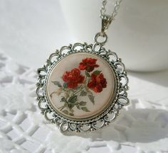 Gentle Vintage Rose FlowersNecklace Polymer Clay by ArtHarmony, $20.00