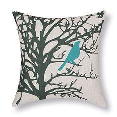 "Euphoria Home Decorative Cushion Covers Pillows Shell Cotton Linen Blend Vintage Shadow Teal Bird Black Tree 18"" X 18"" Euphoria http://www.amazon.com/dp/B00JVT96VA/ref=cm_sw_r_pi_dp_ZwTsvb1QAT3VB"