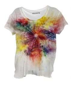 Colorful Flower abstract 2016 Drape Shirt By Christine Bässler $48.00