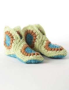 Cute and Cozy Granny Square  Slippers                 This image courtesy of  yarnspirations.com