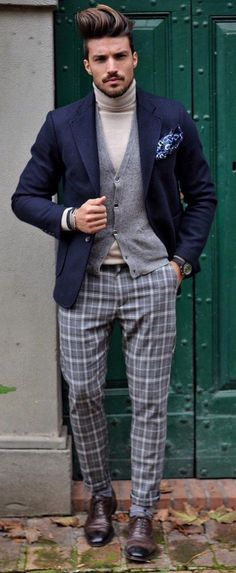 - with a fall combo idea with a beige turtleneck gray cardigan sweater navy blazer navy silk printed pocket square gray plaid pants brown cap toe shoes. Mens Fashion Blog, Workwear Fashion, Fashion Mode, Fashion Shirts, Fashion Pants, Fashion Ideas, Fashion Advice, Mix Match Outfits, Casual Work Outfits