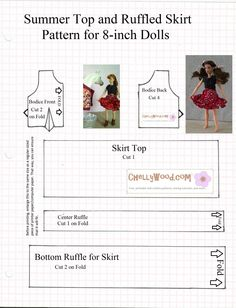 """Image shows sewing pattern for doll skirt and crop top with words """"fits 8 inch dolls"""""""