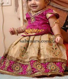 Cute Kiddo in Golden Stripes Lehenga - Indian Dresses