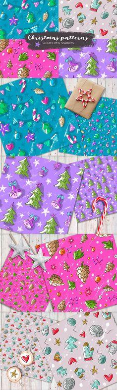 4 Christmas Seamless Pattern. Christmas Patterns. $10.00