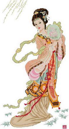 point de croix fille asiatique éventail - cross stitch asian girl and fan