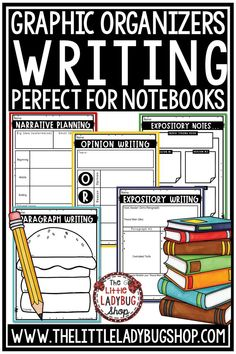Grow your writers with this bundle of Writing Graphic Organizers for use with Expository Writing, Narrative Writing, Persuasive Writing, and more. This set of Graphic Organizers are ready for you to Print and Go! Perfect for writers notebook in 3rd grade, 4th grade, 5th grade and home schooling. #writinggraphicorganizers #narrativegraphicorganizer