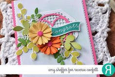 Card by Amy Sheffer. Reverse Confetti stamp sets: Bitty Banners and Petals 'n Posies. Confetti Cuts: Bitty Banners, Edge Essentials, Squared Off Tag Topper, Petals 'n Posies, Leafy, Layered Laurels, Rose Garden and Flowers for Mom. Congratulations card. Birthday card. Encouragement card.