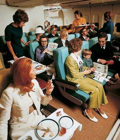 Economy class on board a Lufthansa Boeing 747, 1972. From the book Airline: Style at 30,000 Feet Airline: Style at 30,000 Feet (mini edition) by Keith Lovegrove.