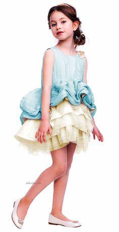 ALALOSHA: VOGUE ENFANTS: Must Have of the Day: I Pinco Pallino girls Blue Pleated Silk & Tulle Dress
