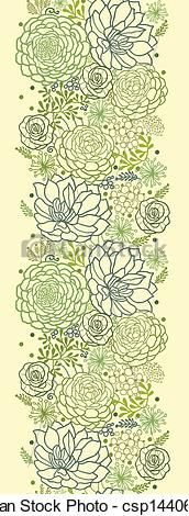Vector - Green succulent plants vertical seamless pattern border - stock illustration, royalty free illustrations, stock clip art icon, stock clipart icons, logo, line art, EPS picture, pictures, graphic, graphics, drawing, drawings, vector image, artwork, EPS vector art