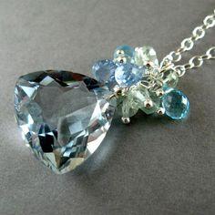 Aqua Blue Quartz Sterling Silver Necklace by SurfAndSand on Etsy