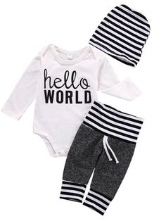 Hello sweet boy, Hello World! Style baby the moment he arrives in the ultra Chic welcome home Onesie set. Matching beanie, pants & onsie. Cotton/Poly Blend *runs slightly larger