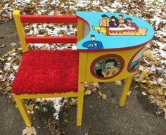 $380. Yellow Submarine Telephone Table Beatles Upcycled Art Furniture
