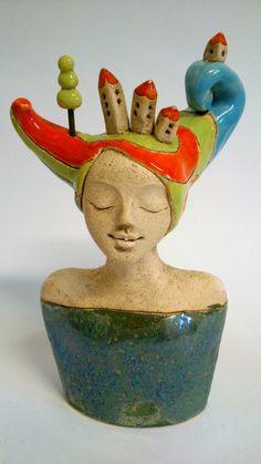 mini bust in clay Ceramic Decor, Ceramic Pottery, Ceramic Art, Sculptures Céramiques, Sculpture Clay, Ceramic Figures, Clay Figures, Creta, Pulp