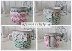 Nach Stich Und Faden crocheted mug cozies (many color combos) no pattern